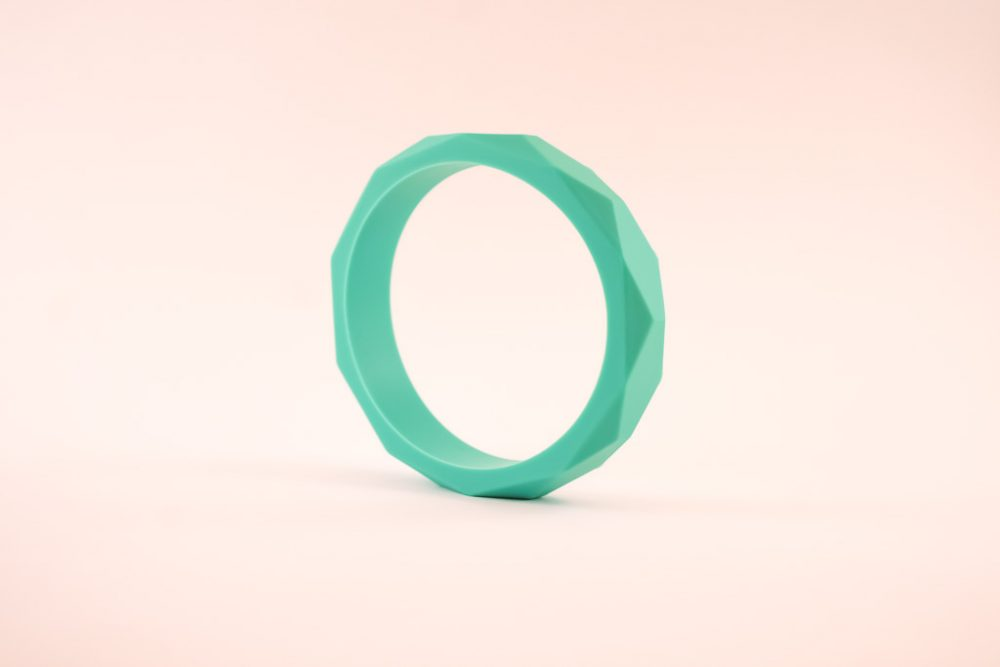 Elephant Teether Toy and Bracelet set - Turquoise - Silicone
