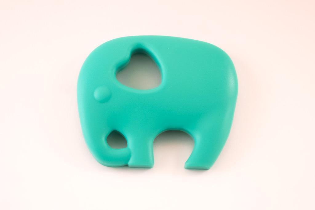 Elephant Teether Toy Turquoise Silicone Free